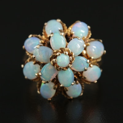 14K Yellow Gold Opal Tiered Ring