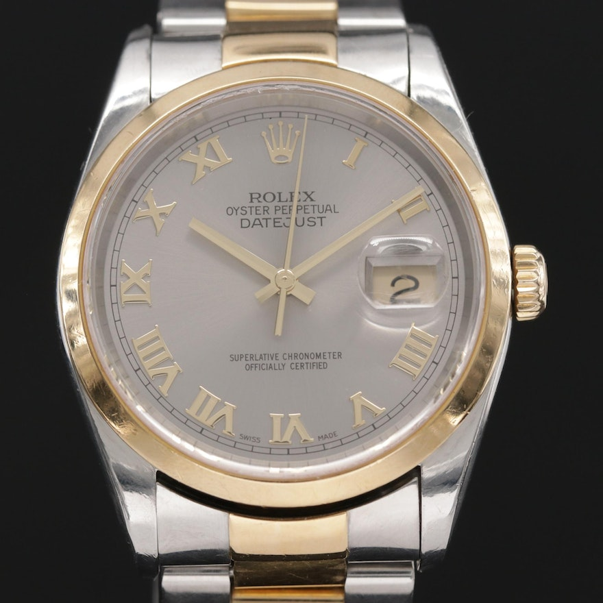 Rolex Datjust 18K Gold and Stainless Steel Automatic Wristwatch, 2002