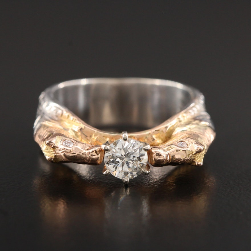 14K White Gold Diamond Horse Ring with Yellow Gold Accents