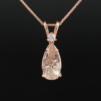 14K Rose Gold 2.10 CTW Diamond Pendant Necklace