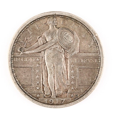 1917 Standing Liberty Silver Quarter, Variety 1