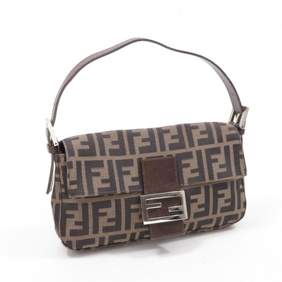 Fendi Zucca Canvas and Leather Flap Front Baguette Shoulder Bag
