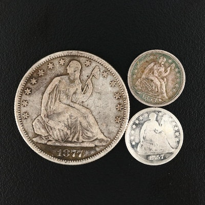 One Liberty Seated Silver Half Dollar and Two Liberty Seated Silver Half Dimes