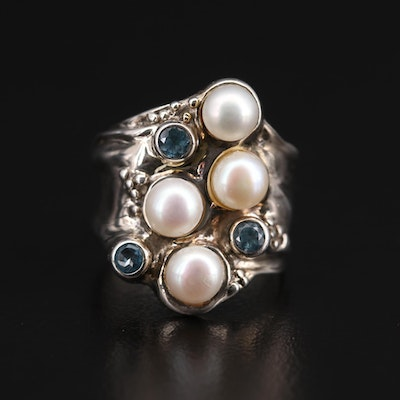 Sterling Silver Topaz and Cultured Pearl Ring
