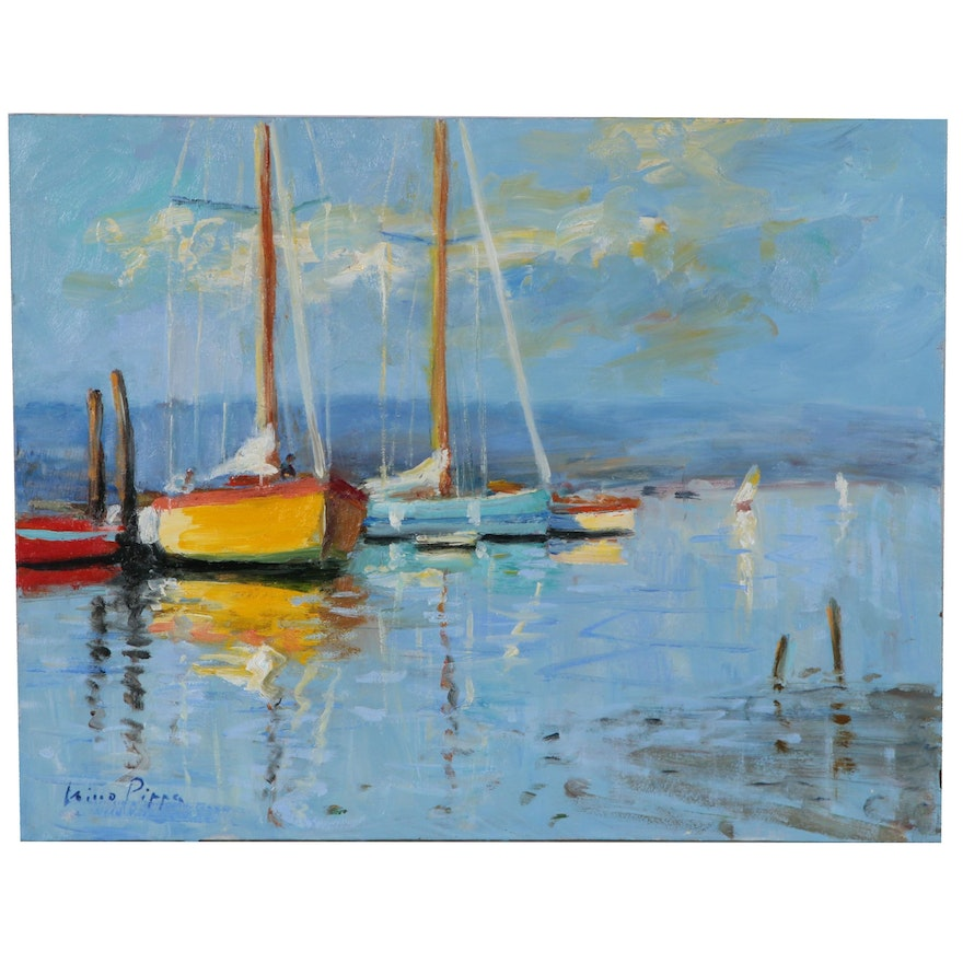 "Nino Pippa Oil Painting ""French Riviera - Cap d'Antibes Marina"""