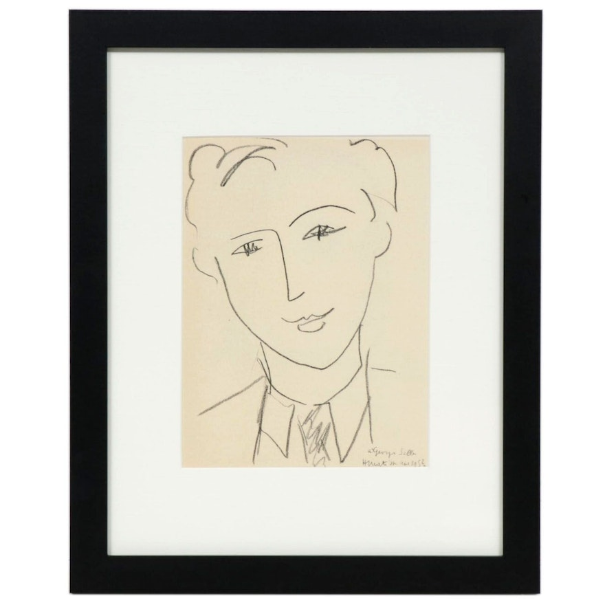 """Lithograph After Henri Matisse """"Georges Salles,"""" 1954"""