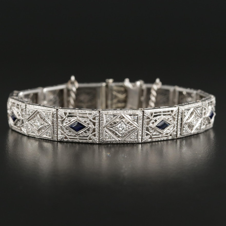 Vintage 14K Synthetic Sapphire and Diamond Bracelet with Platinum Front