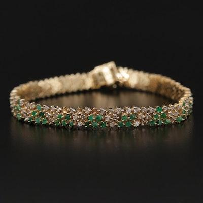 14K Emerald and 1.74 CTW Diamond Bracelet