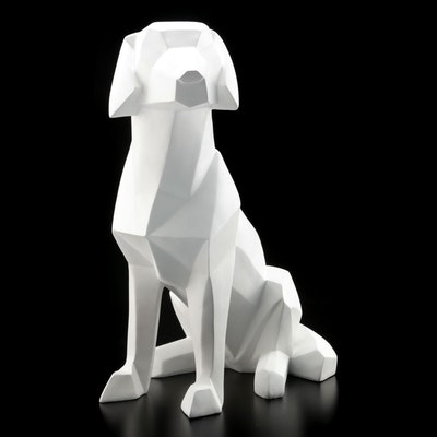 Large Decorative Geometric White Resin Dog Figure