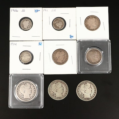 Three Barber Silver Half Dollars, Three Silver Quarters and Three Silver Dimes
