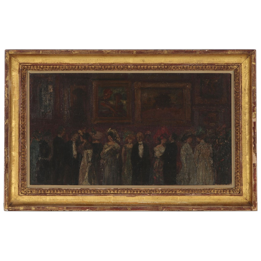 Oil Painting Attributed to Jerome Myers of Salon Exhibition, Early 20th Century