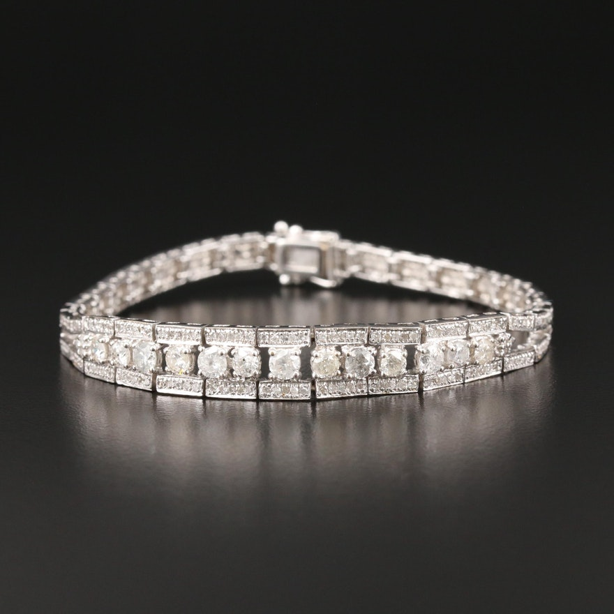 18K White Gold 2.77 CTW Diamond Bracelet