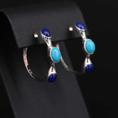 Fine Silver Lapis Lazuli and Turquoise Hoop Earrings