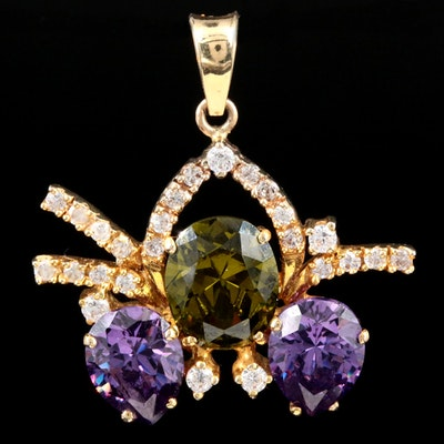 18K Yellow Gold Cubic Zirconia Pendant With 14K Yellow Gold Bail