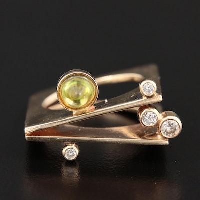 14K Yellow Gold Peridot and Diamond Ring
