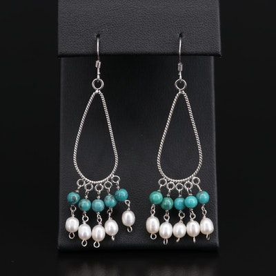 Sterling Silver Turquoise and Cultured Pearl Teardrop Earrings