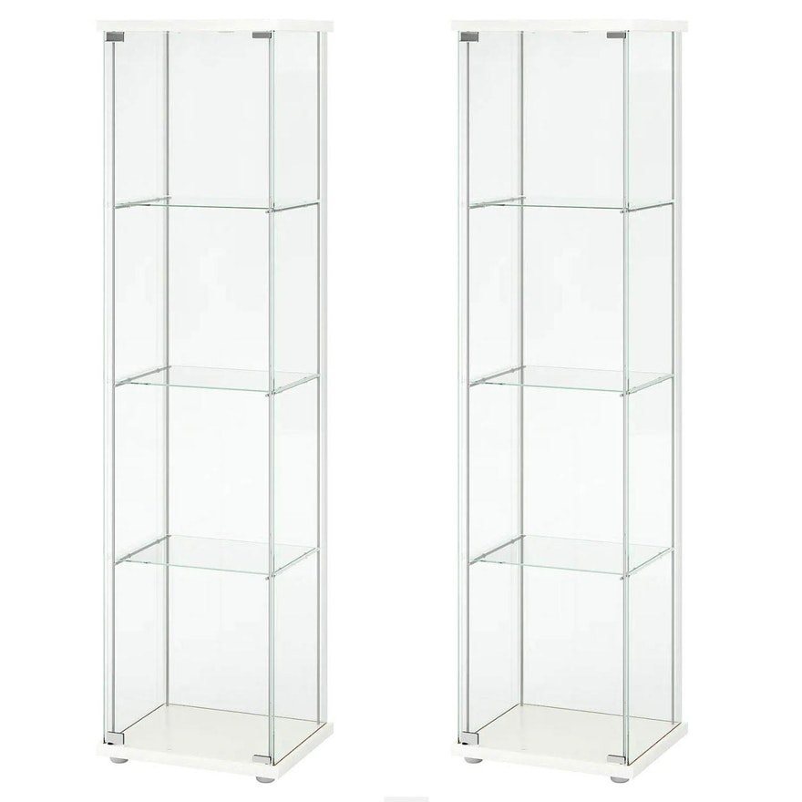 "Pair of Ikea ""Detolf"" Glass-Door White Display Cabinets"