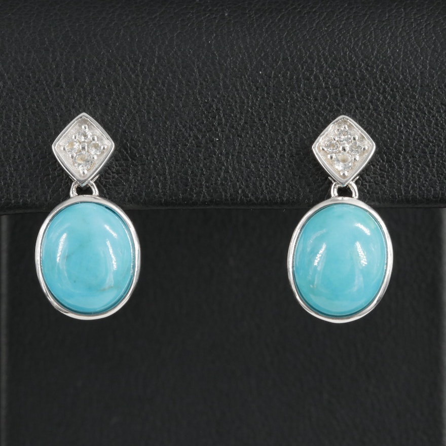 Sterling Silver Turquoise and Topaz Earrings
