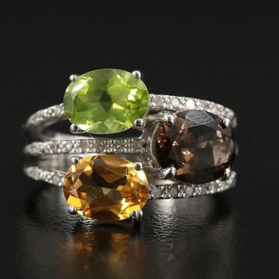 Sterling Silver Citrine, Peridot, Smoky Quartz and Diamond Ring