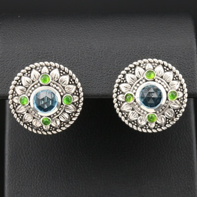 Sterling Silver Topaz and Chrome Diopside Earrings Featuring Floral Motif