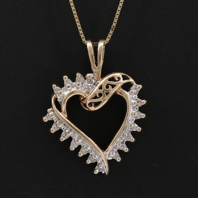 10K Diamond Heart Shaped Pendant Hanging From a 14K Box Chain Link Necklace