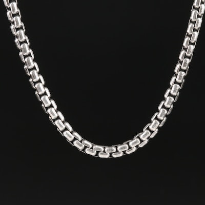 David Yurman Sterling Silver Box Chain Necklace with 14K Gold Accent