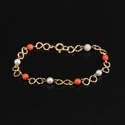 Vintage 9K Yellow Gold Coral and Cultured Pearl Infinity Link Bracelet