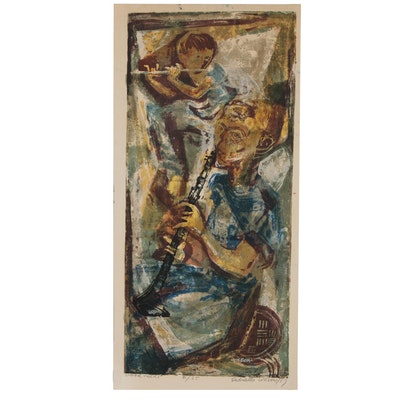 "Gabrielle Wasow Brill Serigraph ""Woodwinds"", 1957"