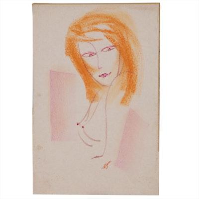 Franklin Folger Pastel Drawing of Female Figure