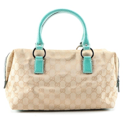 Gucci Boston Bag in Guccissima Canvas and Turquoise Textured Leather