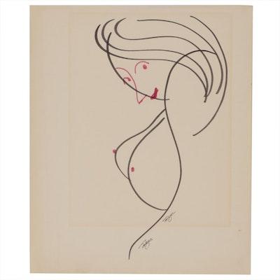 Franklin Folger Female Figure Ink Drawing
