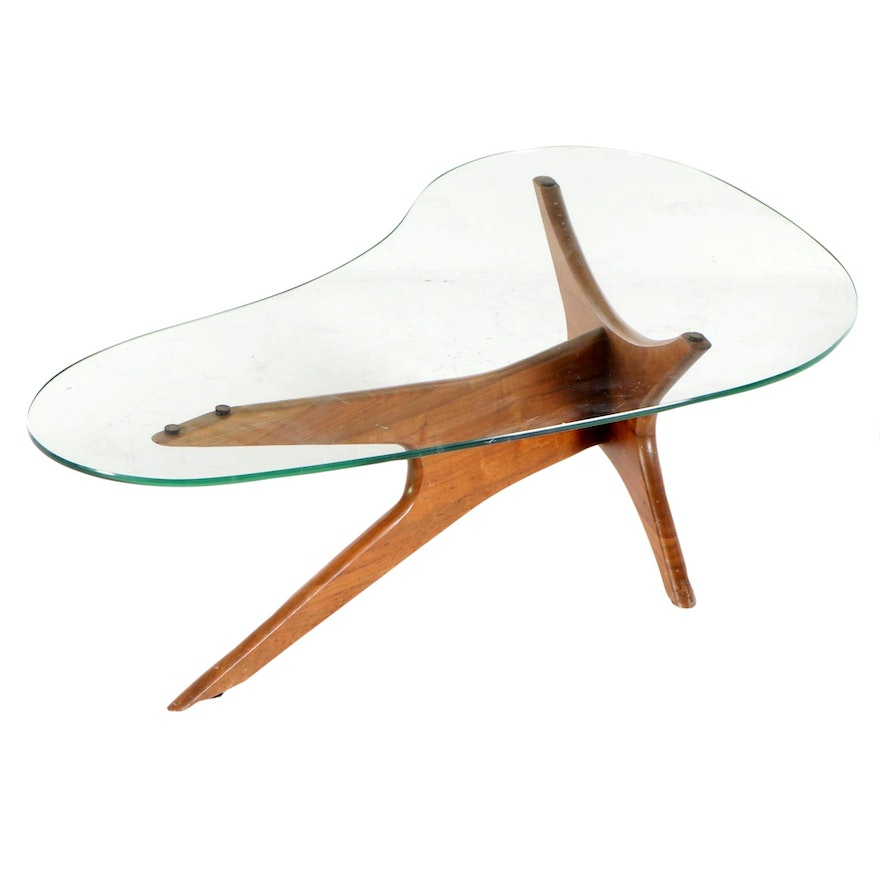Atomic Style Walnut and Glass Coffee Table, Late 20th Century