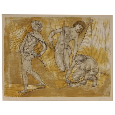 "Hans Erni Color Lithograph ""Ernte"", 1958"