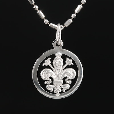 18K Fleur-de-lis Pendant on 14K Chain Link Necklace