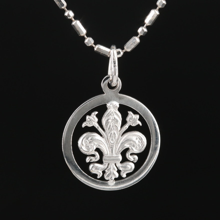 18K Fleur-de-lis Pendant on 14K Chain Link Necklace