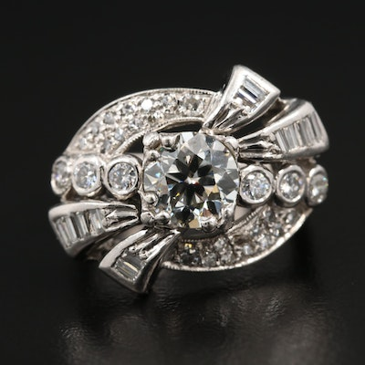 Circa 1940 14K White Gold and Palladium 1.90 CTW Diamond Ring