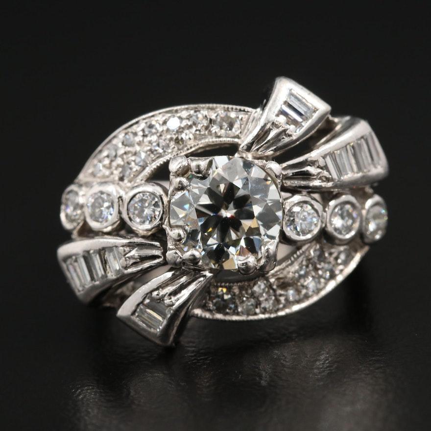 Circa 1940 14K White Gold and Palladium 1.90 CTW Diamond Ring