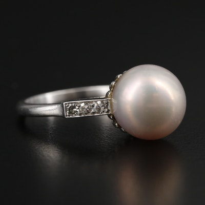 Platinum Pearl Ring with Diamond Accents and GIA Report