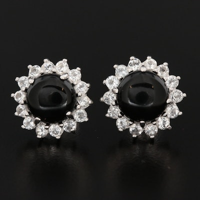 Sterling Silver Black Onyx and Topaz Earrings
