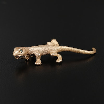 14K Yellow Gold Emerald Gecko Converter Brooch