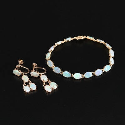 14K Yellow Gold Opal Line Bracelet and Drop Earrings Set