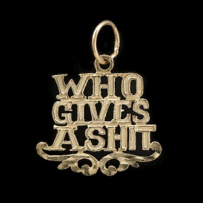 14K Yellow Gold Typography Pendant