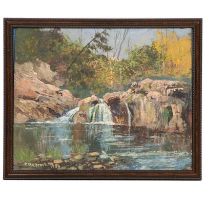 C. Babcock Waterfall Landscape Oil Painting, 1938
