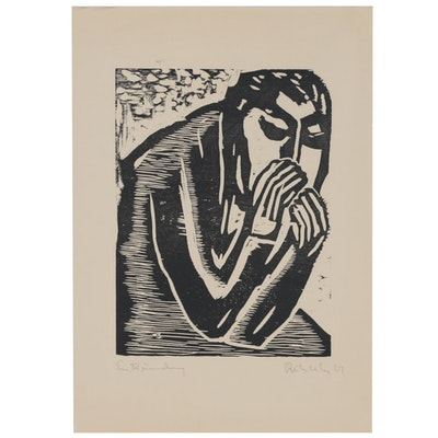 Figure Woodcut, Mid to Late 20th Century