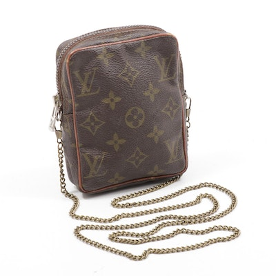 Louis Vuitton Mini Danube Monogram Coated Canvas Crossbody Bag with Chain Strap