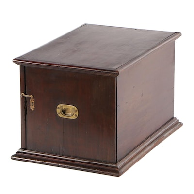 Victorian Mahogany, Bird's-Eye Maple, and Parcel-Ebonized Case of Five Drawers
