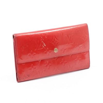 Louis Vuitton Monogram Vernis Leather Sarah Wallet in Red