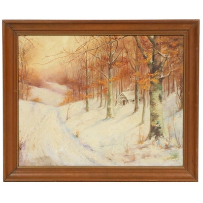 Winter Forest Landscape Oil Painting, Early 20th Century