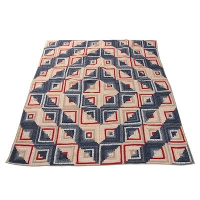 "Handmade Patchwork Quilt ""Log Cabin (Barn Raising)"""