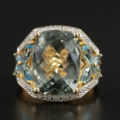 Sterling Silver Prasiolite, Blue Topaz and Diamond Ring